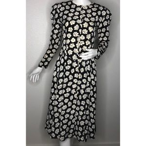 Vintage Floral Small Long Black Dress 4